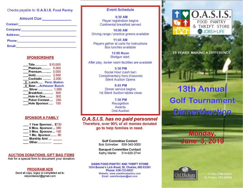 13th Annual Golf Tournament & Dinner/Auction